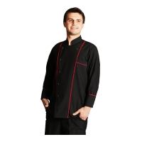 Efes Model aşçı ceketi çıt çıtlı uzun kol-Siyah-Kırmızı