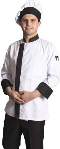 Dry touch fabric chef cook-White-Black