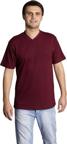 V neck t-shirt-Claret Red