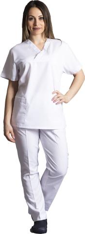 V neck nurse suit-White