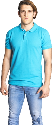Polo neck t-shirt-Turquoise
