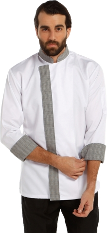 Dry touch fabric chef cook-White-Gray