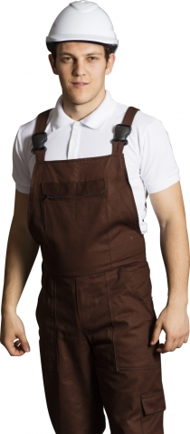 Gabardin Askılı İş Tulumu-Kahve