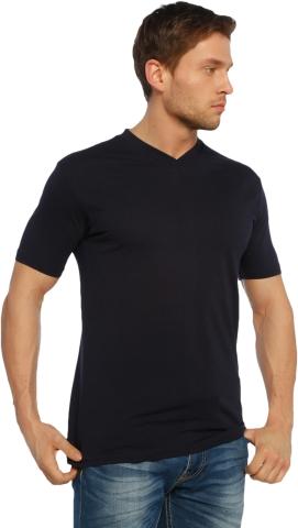 V neck t-shirt-Navy blue