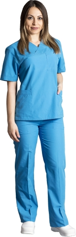 V neck nurse suit-Petrol blue