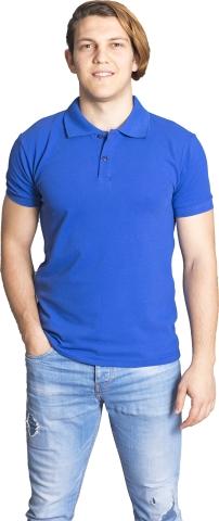 Polo neck t-shirt-Sax Blue